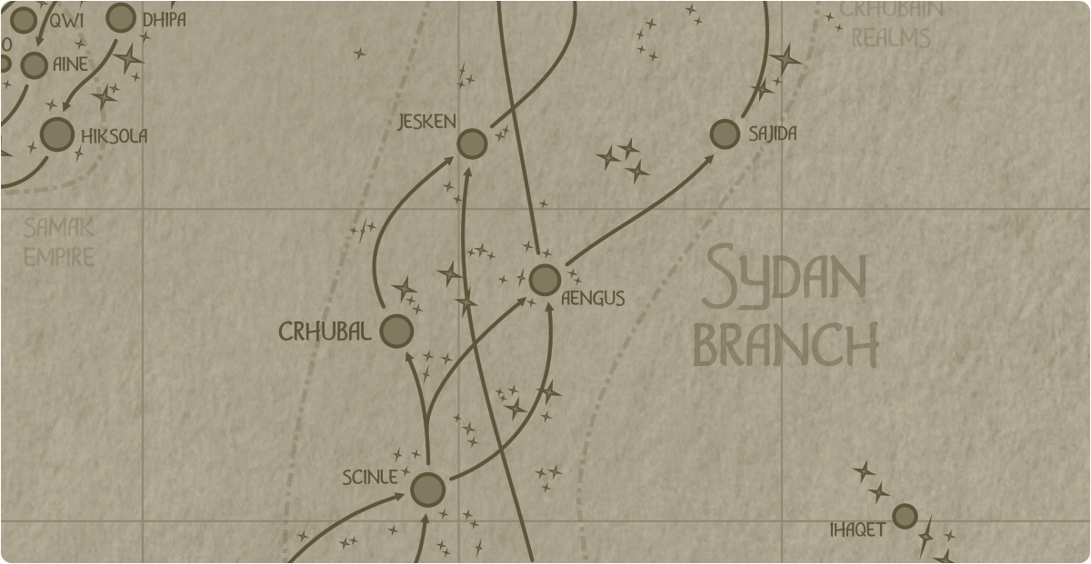 A paper map of the region surrounding the Aengus star system