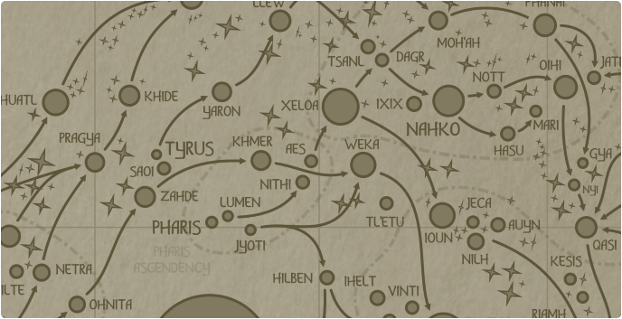 A paper map of the region surrounding the Aes star system