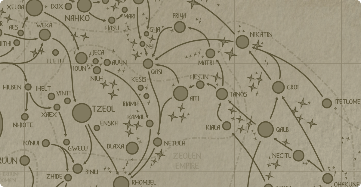 A paper map of the region surrounding the Aiti star system