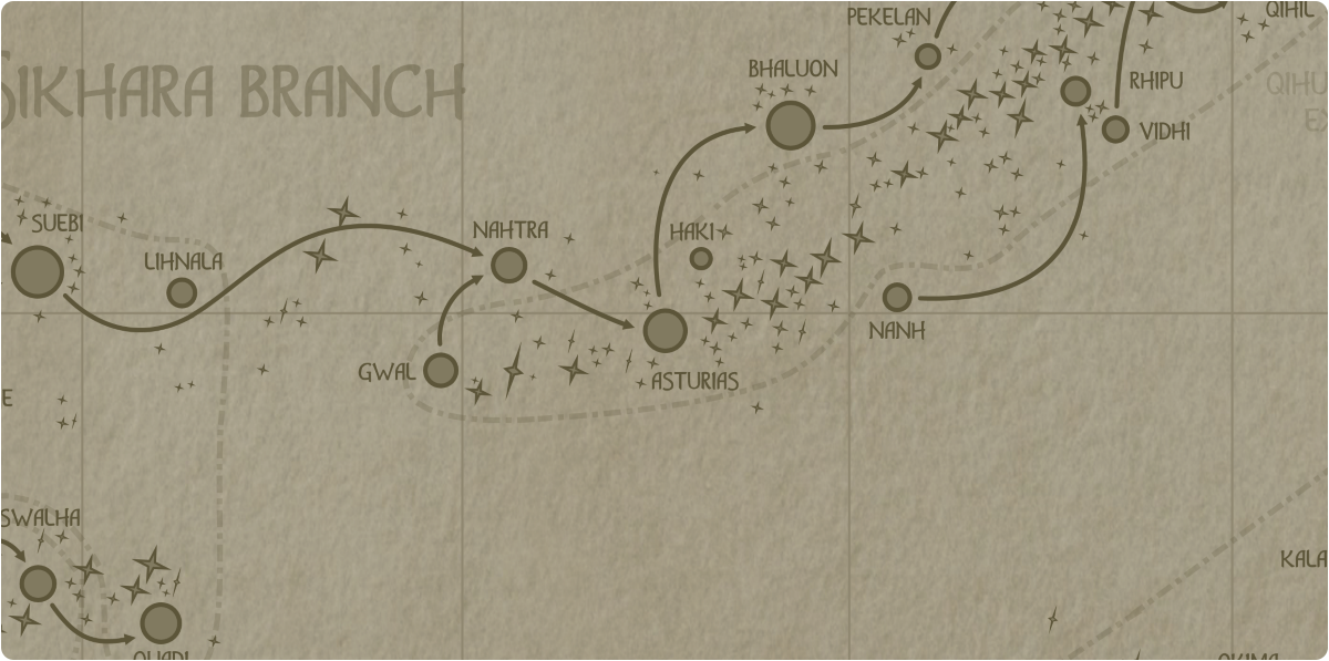 A paper map of the region surrounding the Asturias star system