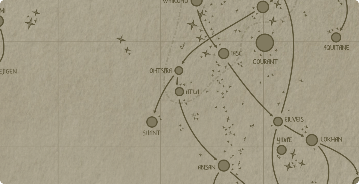 A paper map of the region surrounding the At'la star system