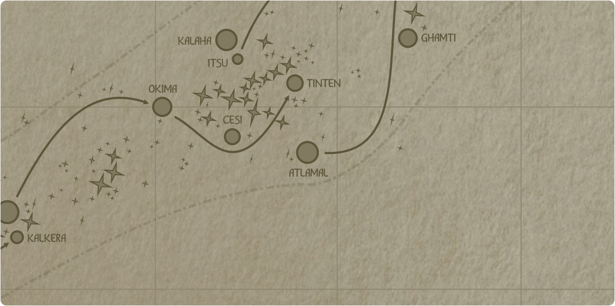 A paper map of the region surrounding the Atlamal star system