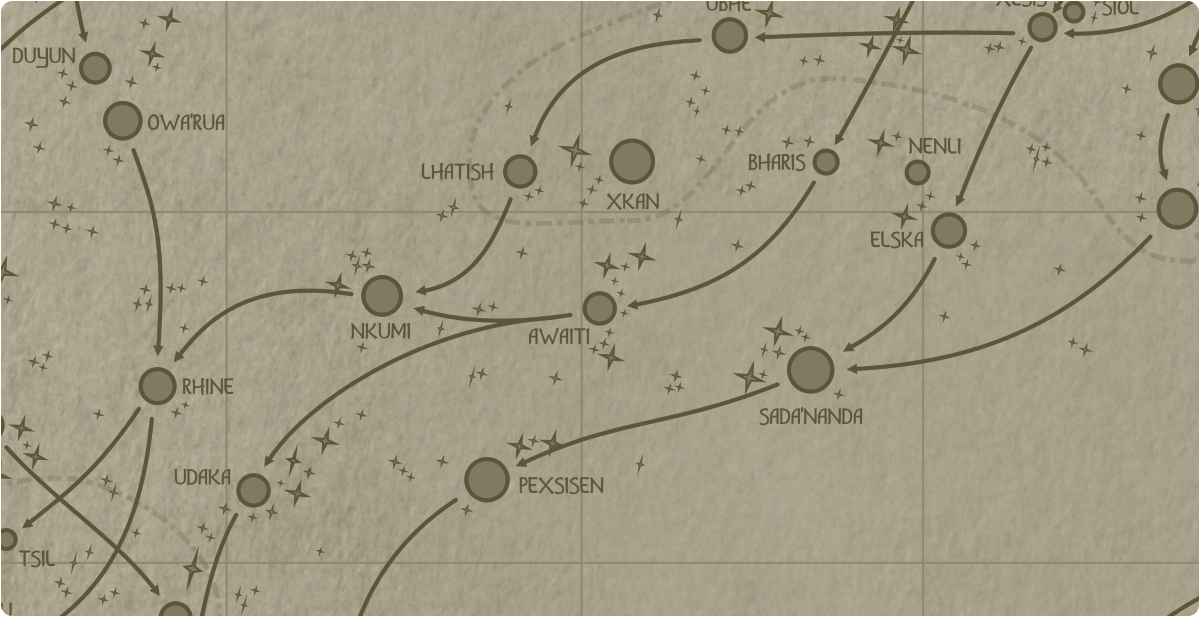A paper map of the region surrounding the Awaiti star system
