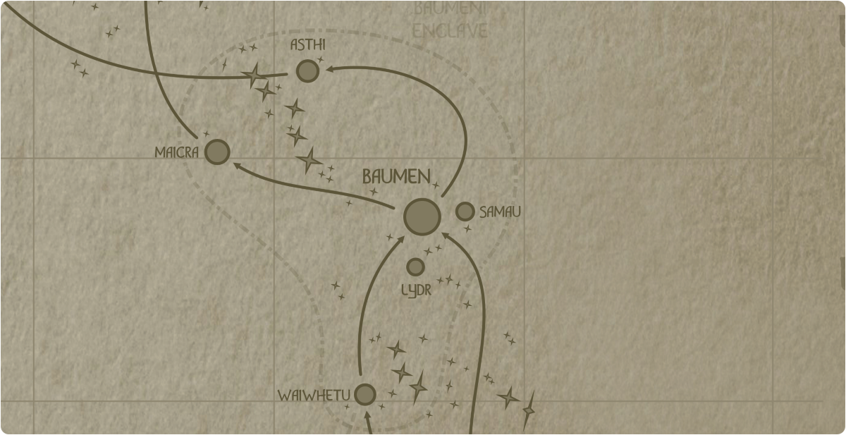 A paper map of the region surrounding the Baumen star system