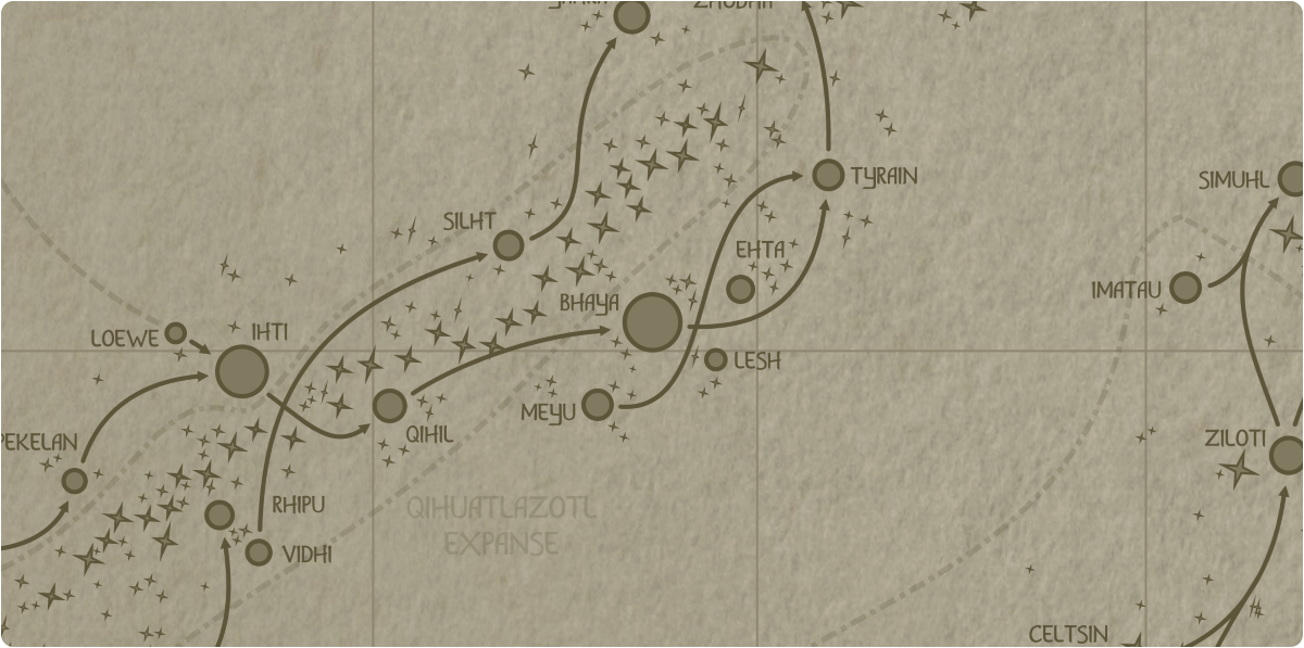 A paper map of the region surrounding the Bhaya star system