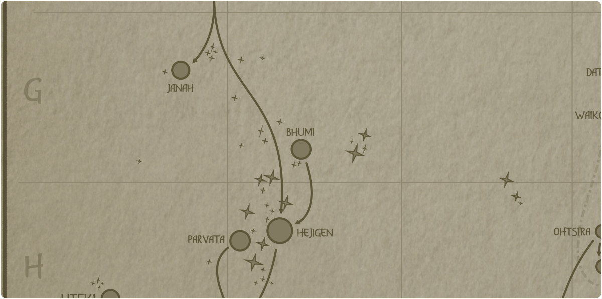 A paper map of the region surrounding the Bhumi star system
