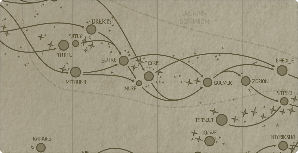 A paper map of the region surrounding the Caris star system