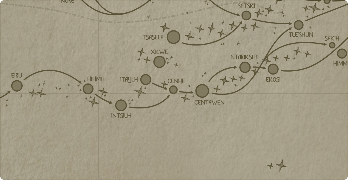 A paper map of the region surrounding the Cenhe star system