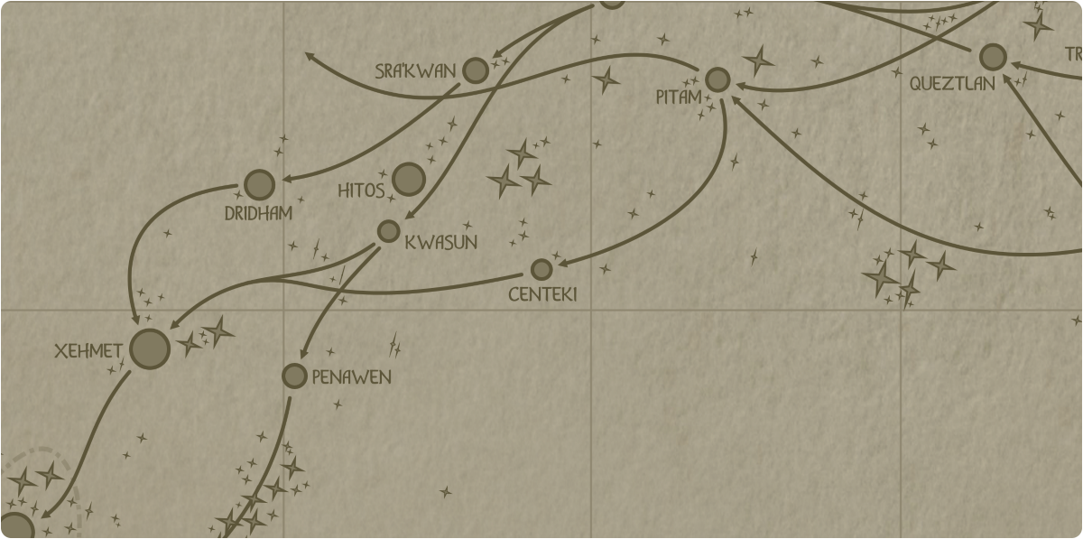 A paper map of the region surrounding the Centeki star system