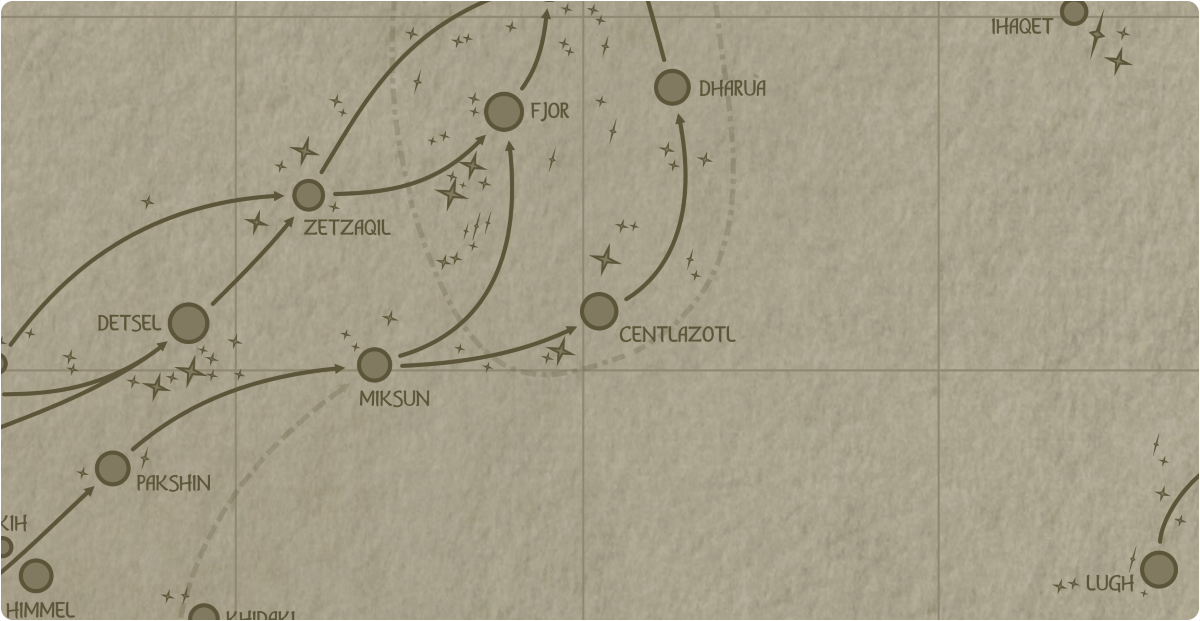 A paper map of the region surrounding the Centlazotl star system