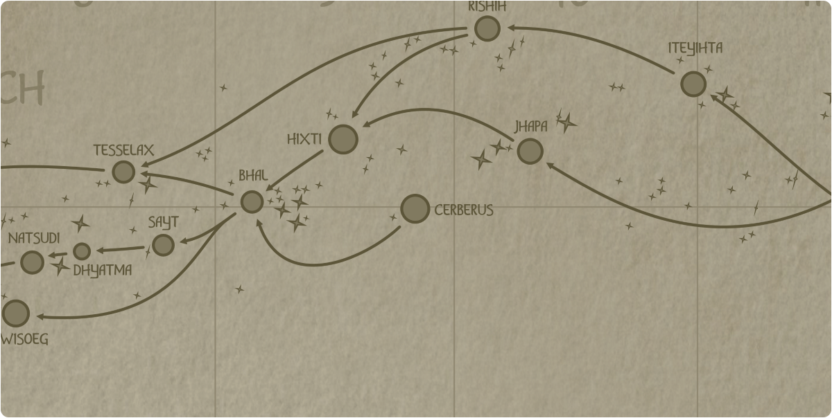 A paper map of the region surrounding the Cerberus star system