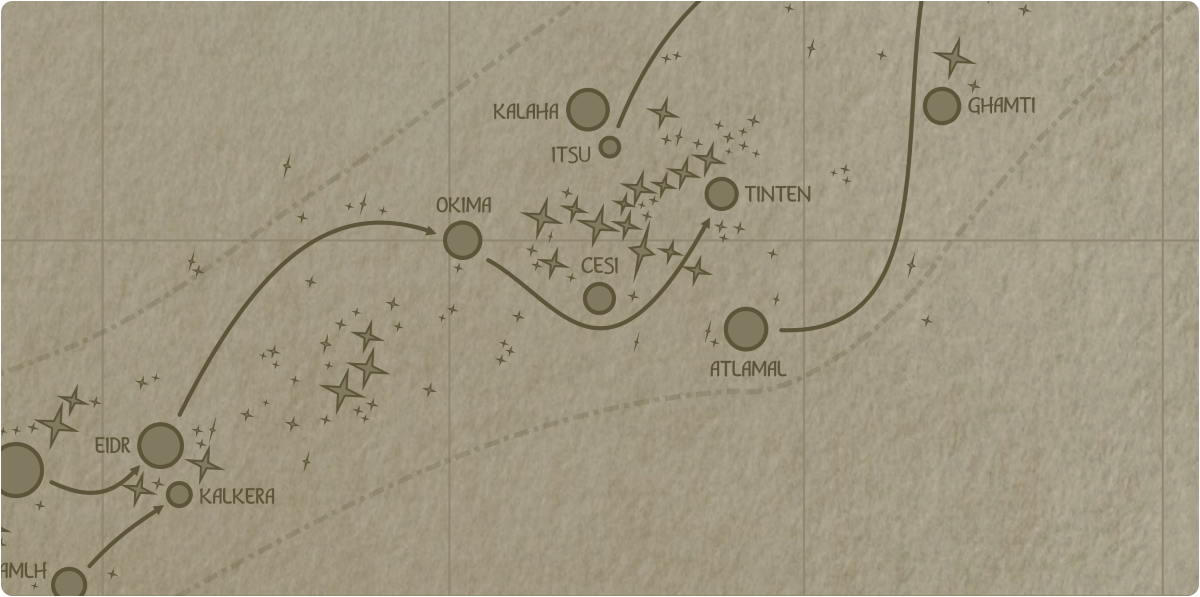 A paper map of the region surrounding the Cesi star system