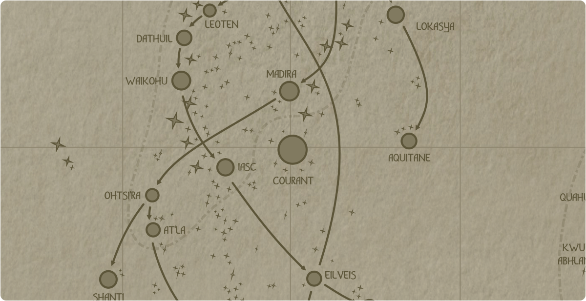 A paper map of the region surrounding the Courant star system