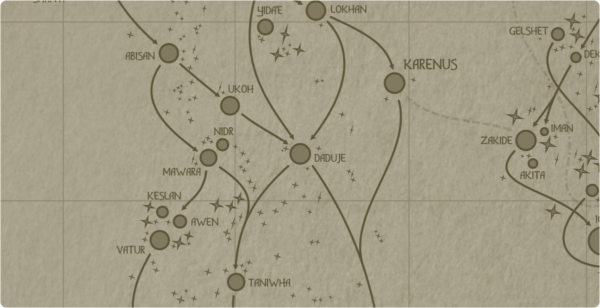 A paper map of the region surrounding the Daduje star system