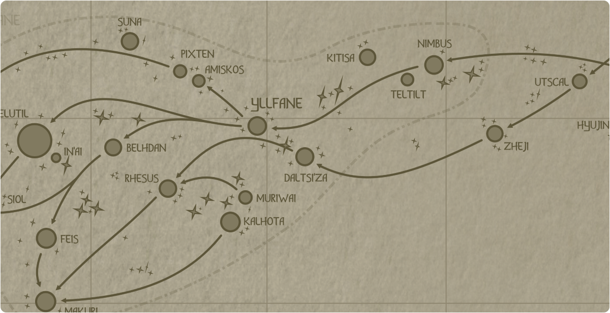 A paper map of the region surrounding the Daltsi'za star system