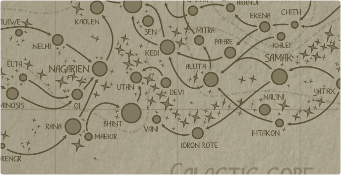 A paper map of the region surrounding the Devi star system