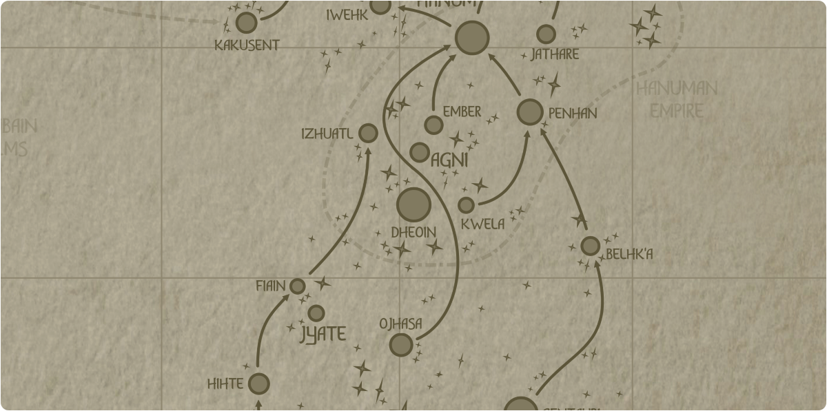 A paper map of the region surrounding the Dheoin star system