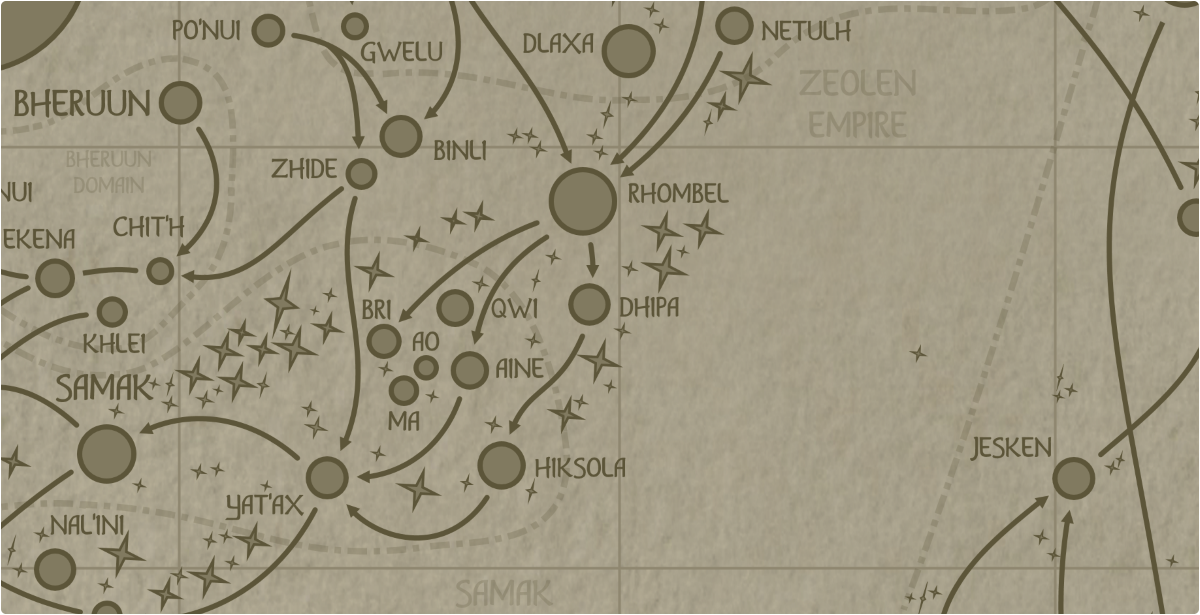 A paper map of the region surrounding the Dhipa star system
