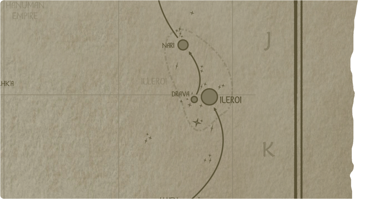 A paper map of the region surrounding the Drava star system