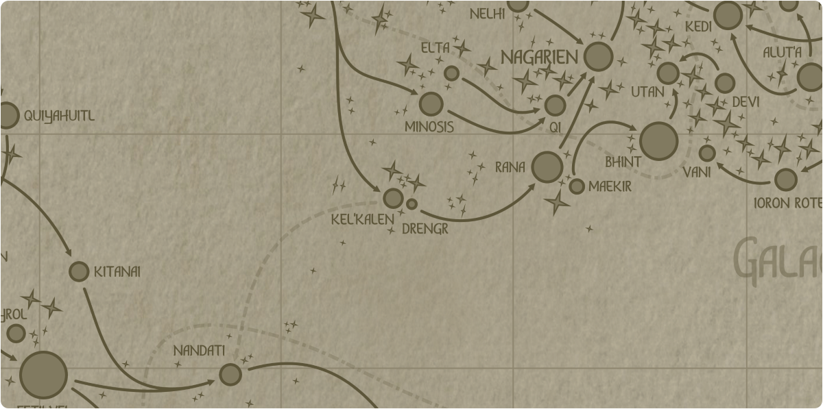 A paper map of the region surrounding the Drengr star system