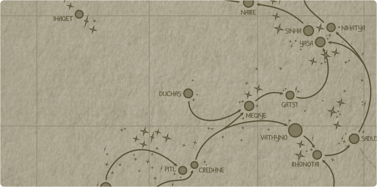 A paper map of the region surrounding the Duchas star system