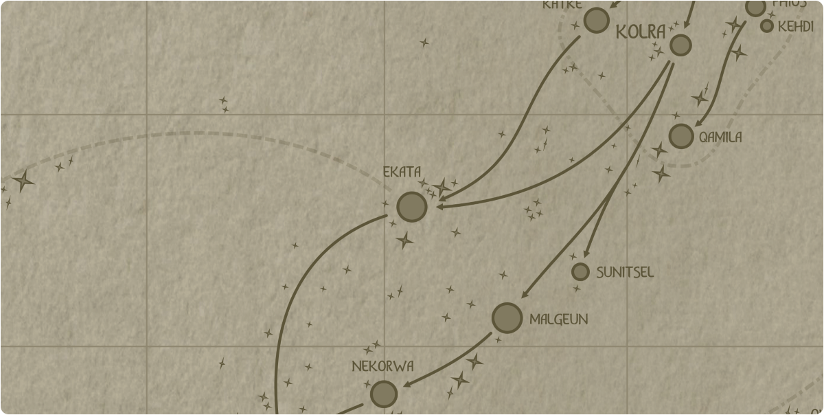 A paper map of the region surrounding the Ekata star system
