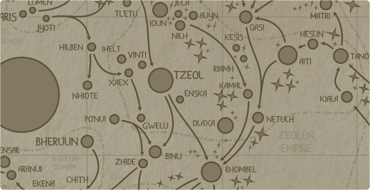 A paper map of the region surrounding the Enska star system
