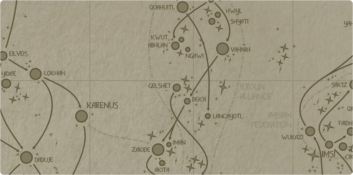 A paper map of the region surrounding the Gelshet star system