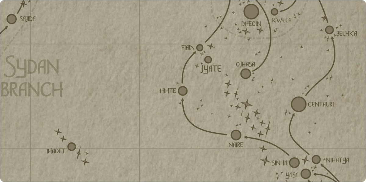 A paper map of the region surrounding the Hihte star system