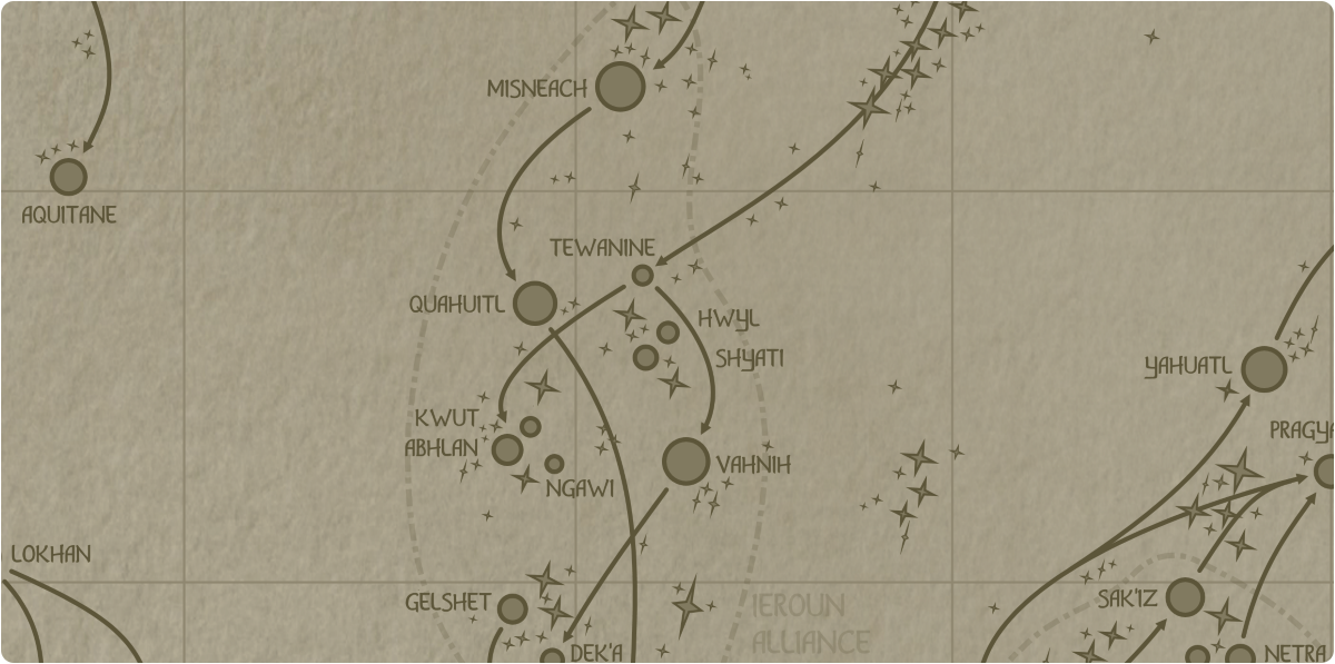 A paper map of the region surrounding the Hwyl star system