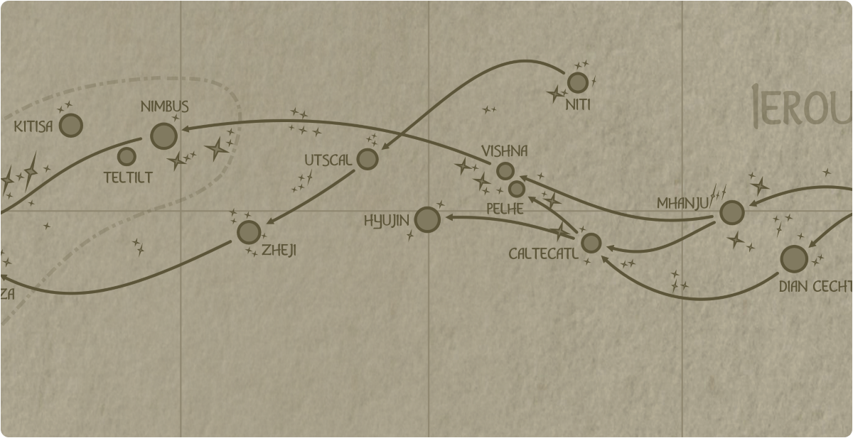 A paper map of the region surrounding the Hyujin star system