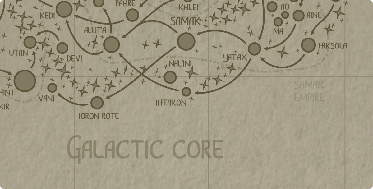 A paper map of the region surrounding the Ihtakon star system