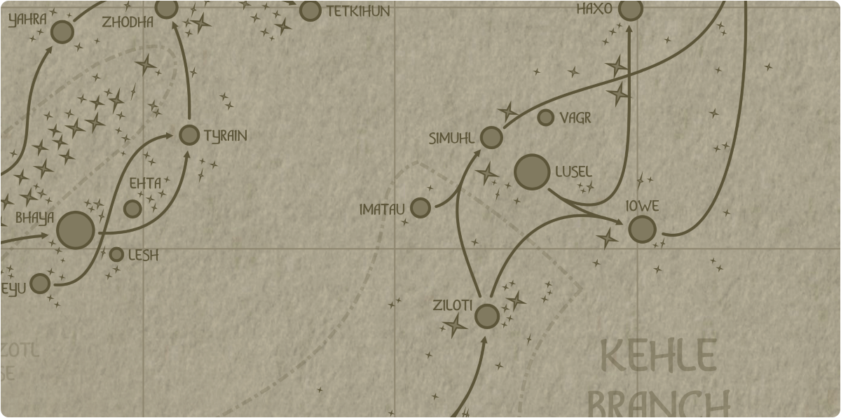 A paper map of the region surrounding the Imatau star system