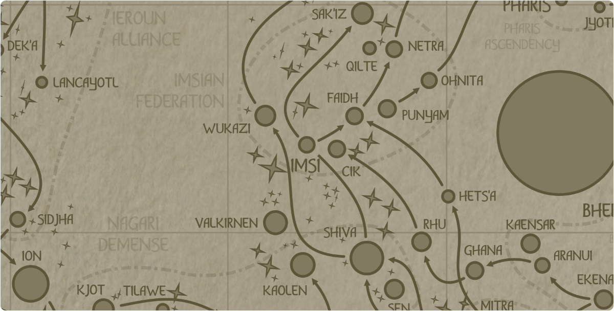 A paper map of the region surrounding the Imsi star system