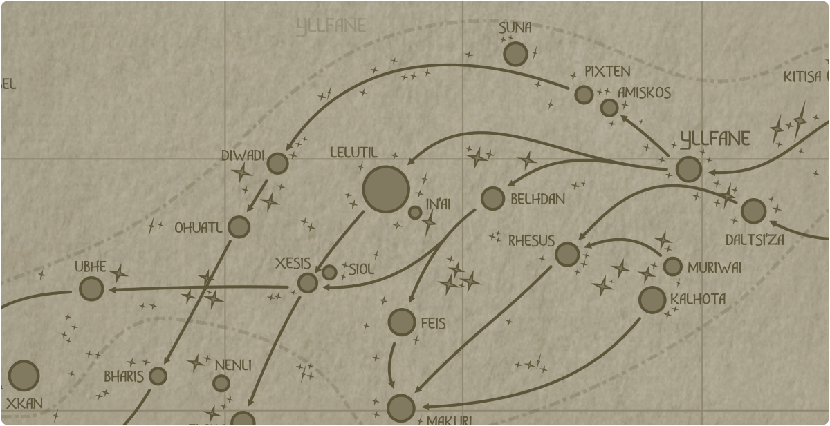 A paper map of the region surrounding the In'ai star system