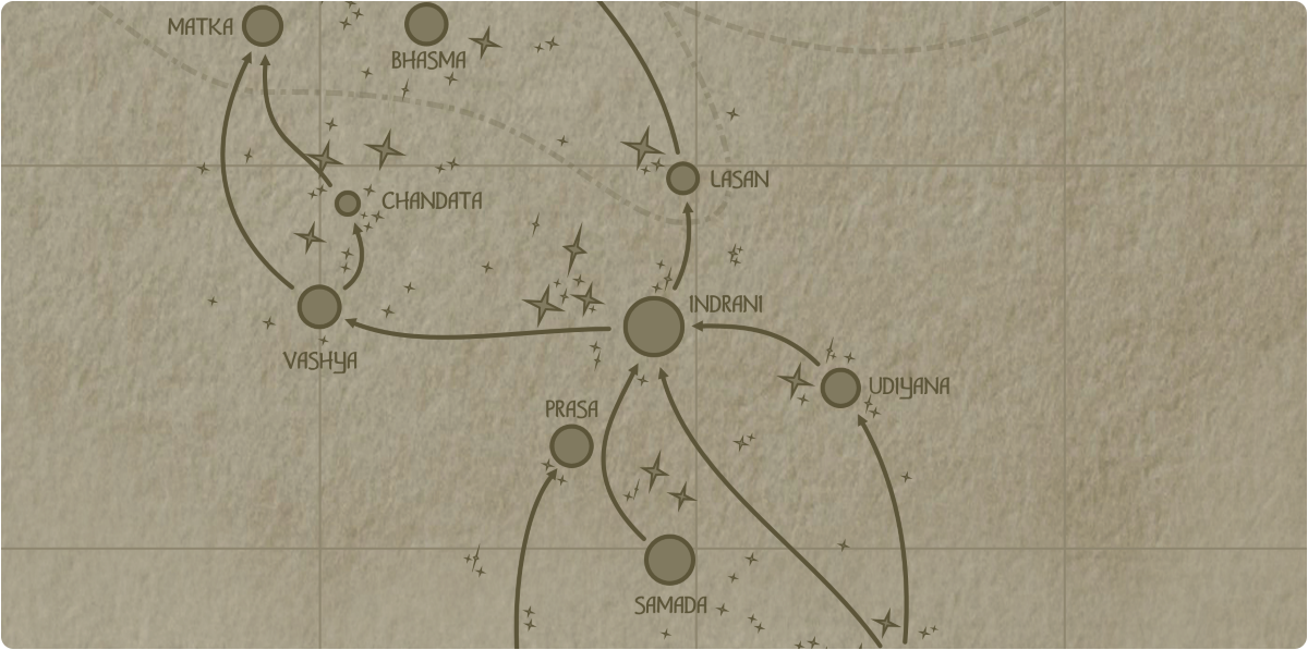 A paper map of the region surrounding the Indrani star system