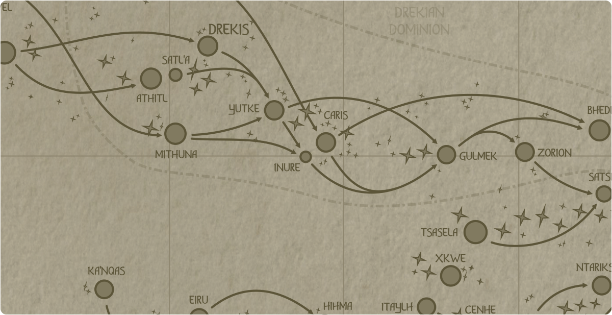 A paper map of the region surrounding the Inure star system
