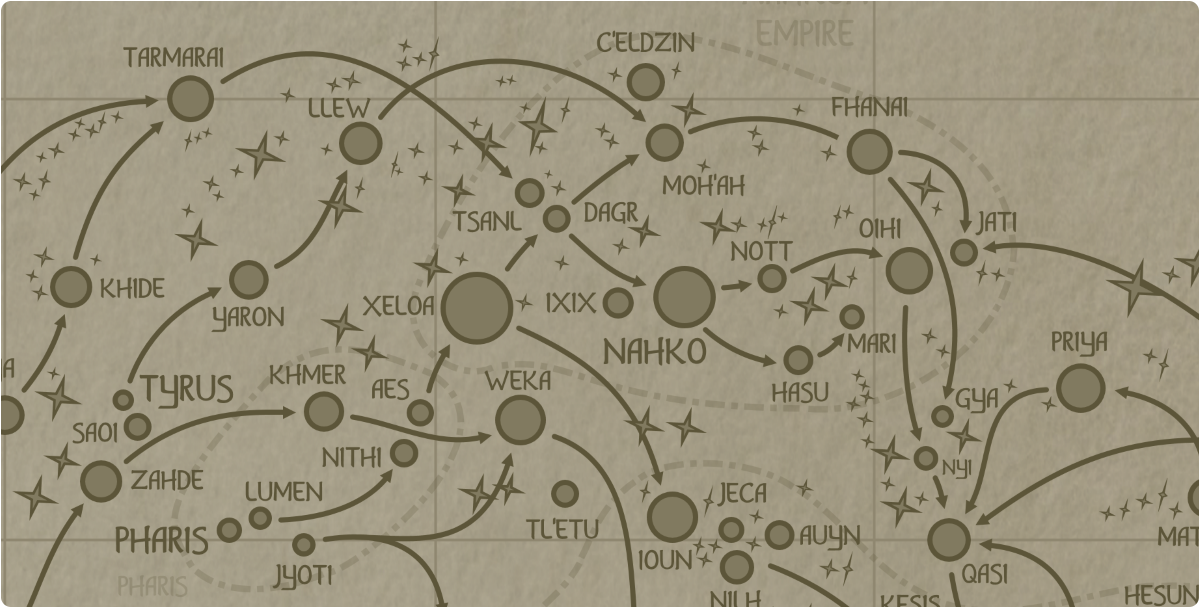 A paper map of the region surrounding the Ixix star system