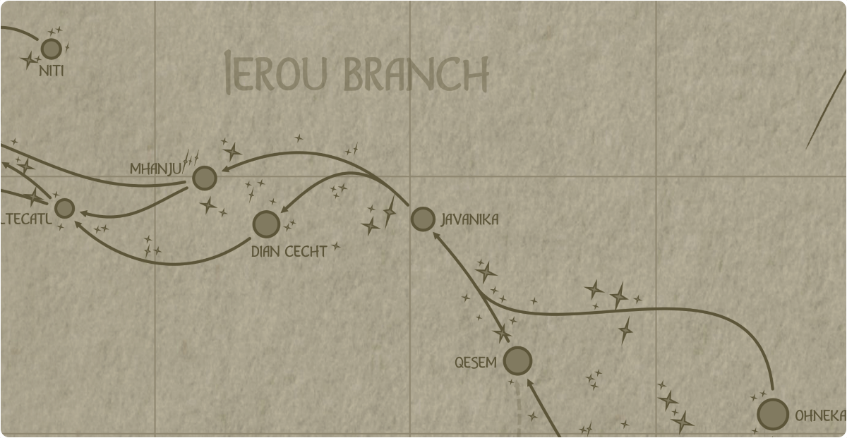 A paper map of the region surrounding the Javanika star system