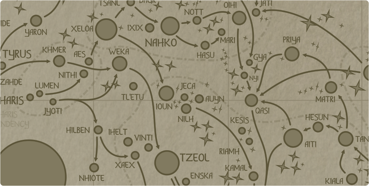 A paper map of the region surrounding the Jeca star system