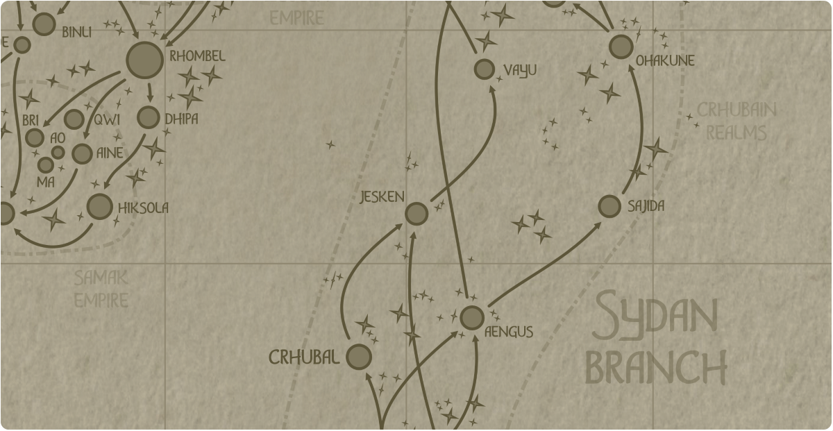 A paper map of the region surrounding the Jesken star system