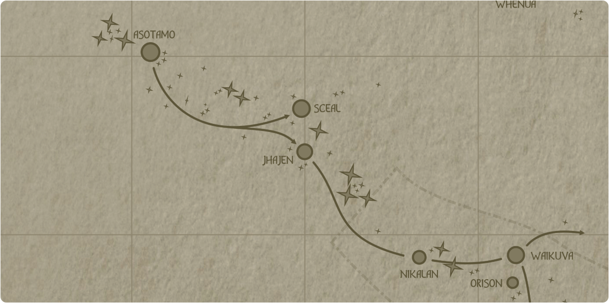 A paper map of the region surrounding the Jhajen star system