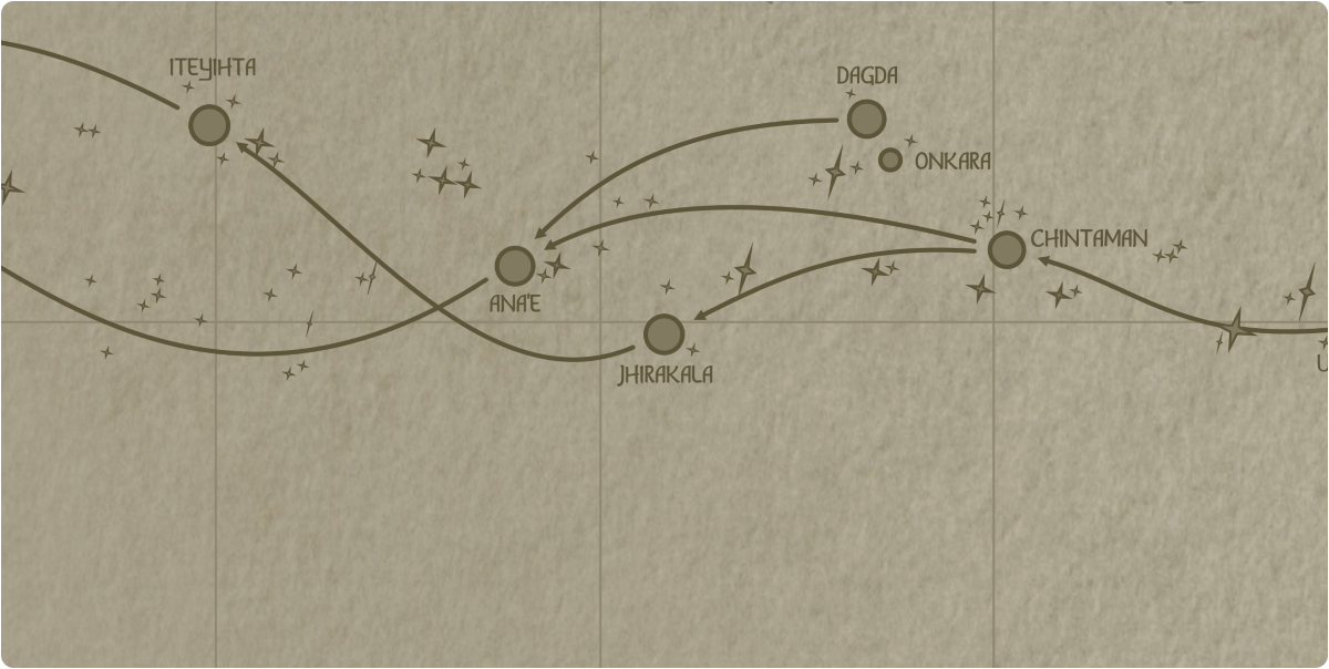 A paper map of the region surrounding the Jhirakala star system