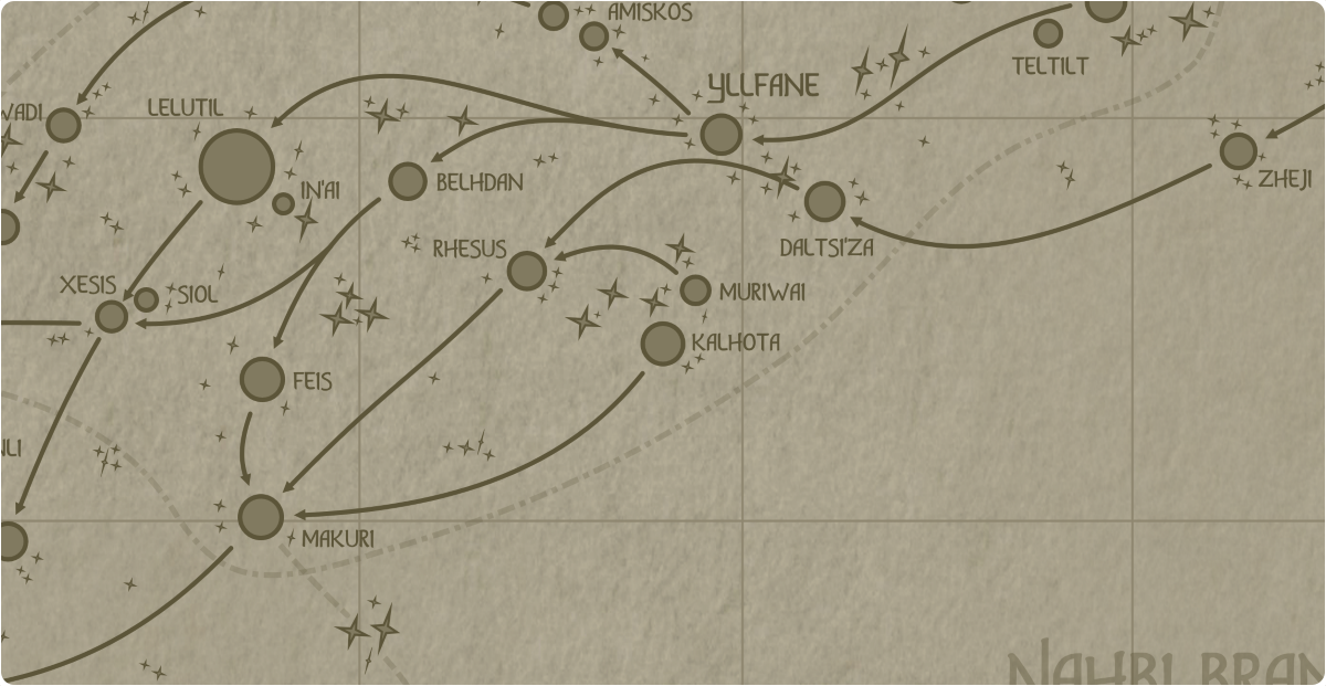 A paper map of the region surrounding the Kalhota star system