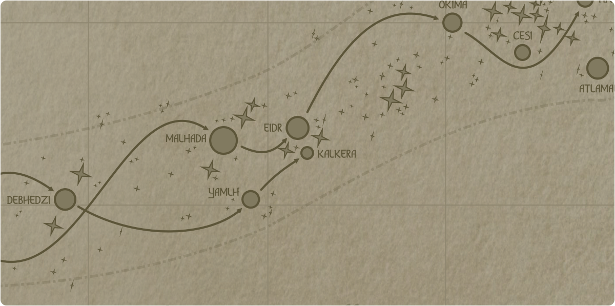 A paper map of the region surrounding the Kalkera star system