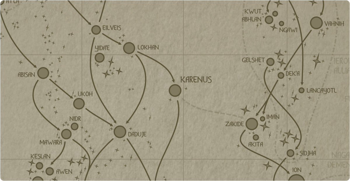 A paper map of the region surrounding the Karenus star system