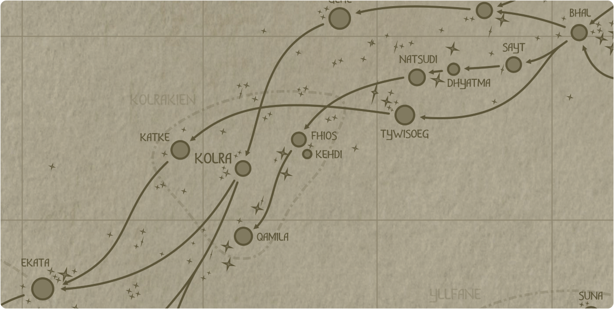 A paper map of the region surrounding the Kehdi star system