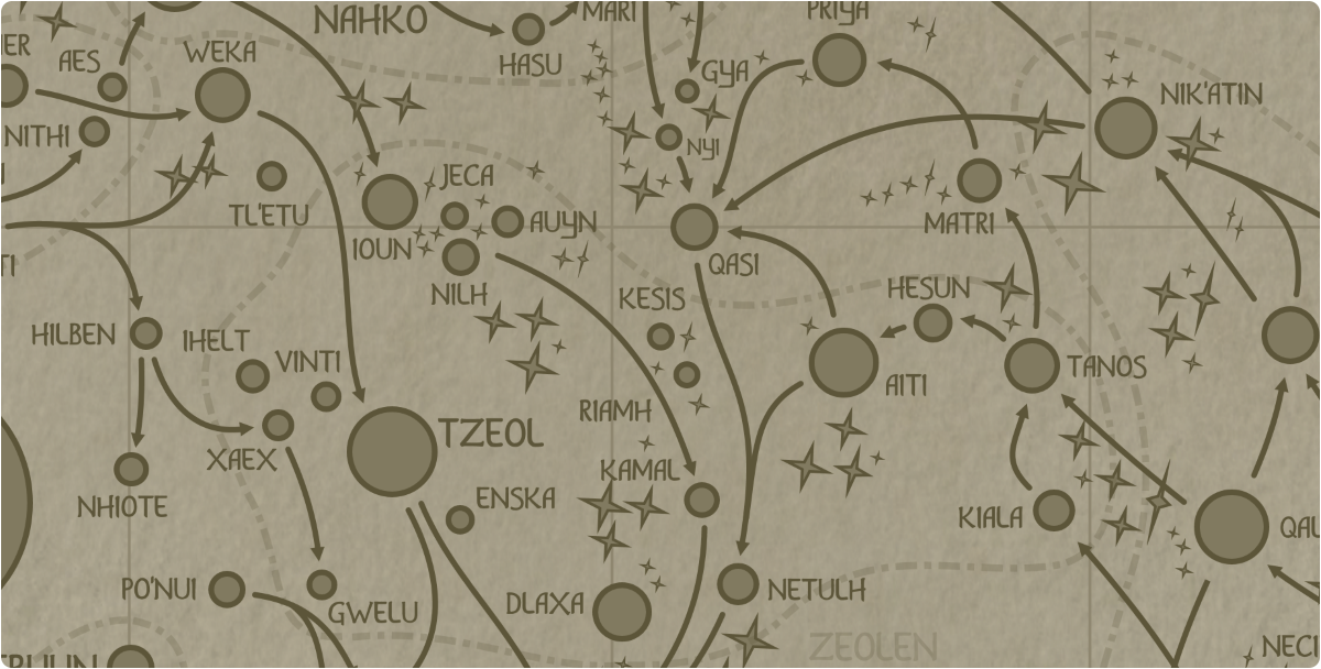 A paper map of the region surrounding the Kesis star system
