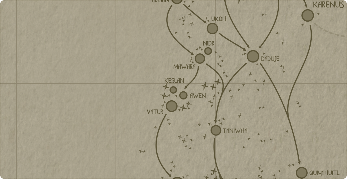 A paper map of the region surrounding the Keslan star system