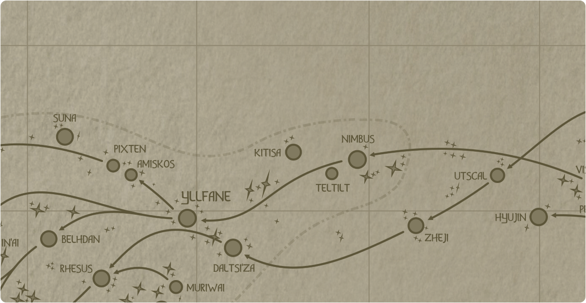 A paper map of the region surrounding the Kitisa star system